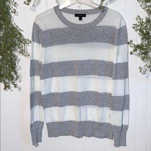 J. Crew Grey And White Striped Crew Neck Sweater